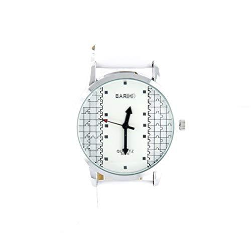 Montre Femme Pas chère Motif Puzzle Bracelet Blanc