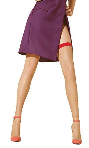 Marilyn freche leicht gepunktete halterlose Strümpfe mit farbigen Absatz im Strumpfbandlook , 20 Denier, Größe 40/42 (M/L), Farbe Beige (visone & red) (Freche Strümpfe)