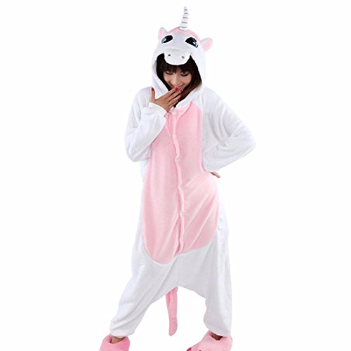 Unisex Fumetto Adulto Animale Kigurumi Caldo Pigiama Morbido Cosplay Pigiameria Costume Unicorno Rosa