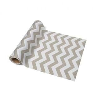 Chemin de table tissu chevrons taupe et blanc