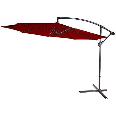 Ombrellone 300cm con supporto, telaio in alluminio, faktur protezione UV 50+, rosso scuro