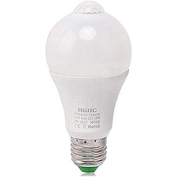 Bombillas LED con sensor de movimiento PIR,10W E27 Blanco cálido 3000K, Auto encendido/apagado Luces nocturnas Exterior/Interior para puerta delantera ...