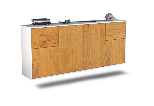 Dekati Sideboard Costa Mesa hängend (180x77x35cm) Korpus Weiss matt | Front Holz-Design Eiche | Push-to-Open Mesa Olive