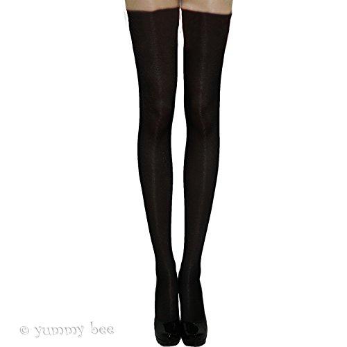 Imagen de yummy bee medias semi opaco calcetines largos por encima de la rodilla sujeción colegiala disfraz mujer negro