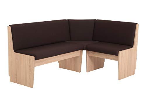 Eckbank Silke re/li, Bezug Webstoff Braun mit Stauraum, Holzgestell Dekor Sonoma Eiche