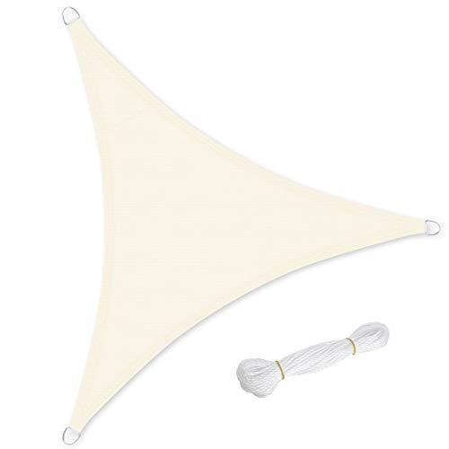 SONGMICS 5 x 5 x 5 m Voile d'ombrage en HDPE Protection Solaire Protection Anti UV Perméable à l'air pour Le Jardin, Le Balcon Respirant Perméable à l'eau Beige GSS50IV