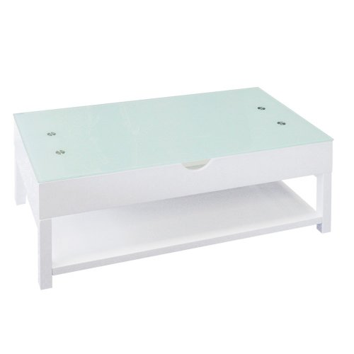 Menzzo AC8035 Contemporain Up Table Basse Bois/Verre Blanc 55/87 x 110 x 42/68 cm