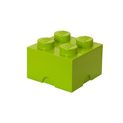 Mattoncino-contenitore Lego a 4 Bottoncini, Contenitore Impilabile, 5,7 Litri, Verde Lime