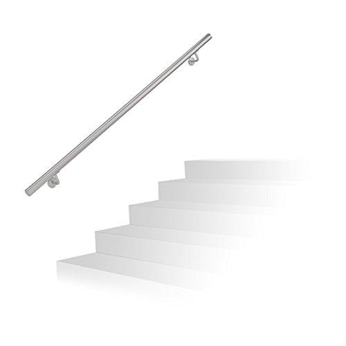 Relaxdays Handlauf Edelstahl, gebürsteter Edelstahl, 150 cm, Wandhalter, Treppengeländer mit Metalldübeln, anthrazit