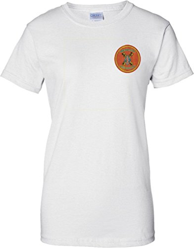 USMC 1st Bn 11th Marines - Ladies Chest Design T Shirt - White - 12 (11th T-shirt Airborne)