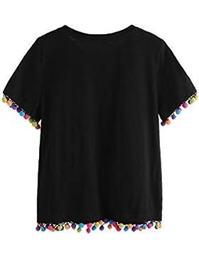 SOLYHUX Mujer Camiseta con Ribete De Pompones,Camiseta Manga Corta Negro XS-L