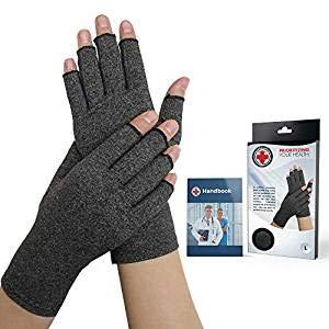 Von Ärzten Entwickelte Arthritis Kompressions-Handschuhe und von Ärzten verfasstes Handbuch (Grau) (Volle Finger-kompression Handschuhe)