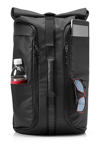 HP Pavilion Wayfarer (5EE95AA) Rucksack (gepolstertes Laptopfach bis 15,6 Zoll, Fronttasche, Air-Mesh Schultergurte, Reflektoren, RFID Schutz, Ladegerät-Halterung) in schwarz