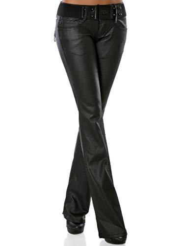 Damen Boot-Cut Kunstlederhose mit Gürtel DA 15959 Schwarz S / 36