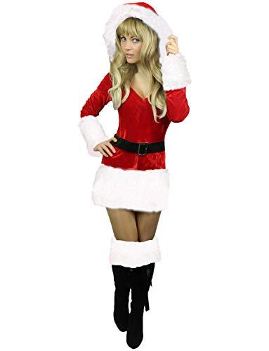 Santas Frau Kostüm - Yummy Bee - Frau Weihnachtsmann Santa Karneval Fasching Kostüm Damen Größe 34-50 (Weiß, 44-46)