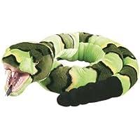Snakesss Animale di peluche Serpente a sonagli, Serpente verde Serpente a bocca aperta di plastica, Animale coccoloso ca. 137 cminsieme al burro per il corpo, 7ml