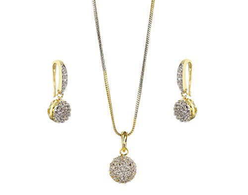 Lady Touch CZ Stone Gold Platinum Plated Ball Pendent Set For Girl's And Women's