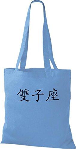 Sacchetto Di Stoffa In Cotone Tinta Unita Con Caratteri Cinesi Borsellini In Cotone, Vari Colori Blu Surf