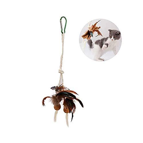 Yangyme Suministros para Mascotas Juguetes For Gatos Set Divertido Gato Pluma Pluma Gato Molar Sisal Cuerda Jaula For Gatos Especial Catnip Bola De Corcho Campana Gato Juguete