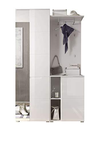 AVANTI TRENDSTORE - Spilla - Guardaroba Completo in Legno Laminato di Colore Bianco/Bianco Lucido. Dimensioni Lap 120x198x40 cm