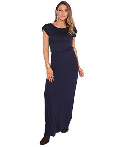 KRISP Maxi Robe Femme Longue Casual Chic Bohème, Bleu Marine - (3269), 42