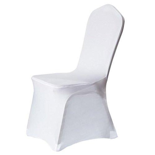 Schönes leben* 6er Elasthan Bügelfrei Stuhlbezug Stretchhusse Stuhlhusse Stuhlüberzug Husse für die Hochzeit (Weiß)