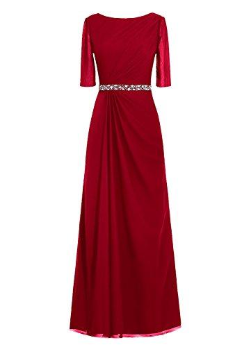 Dresstells, robe de soirée, robe de mère de mariée longueur ras du sol, manches 3/4 Pourpre