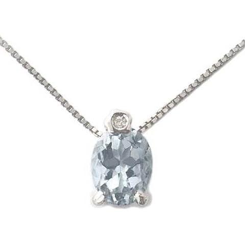 Gioie Girocollo Donna in Oro 18 carati Bianco con Acquamarina e Diamante H/SI (totale diamanti 0.01 ct), Cm 42, 2.4 Grammi