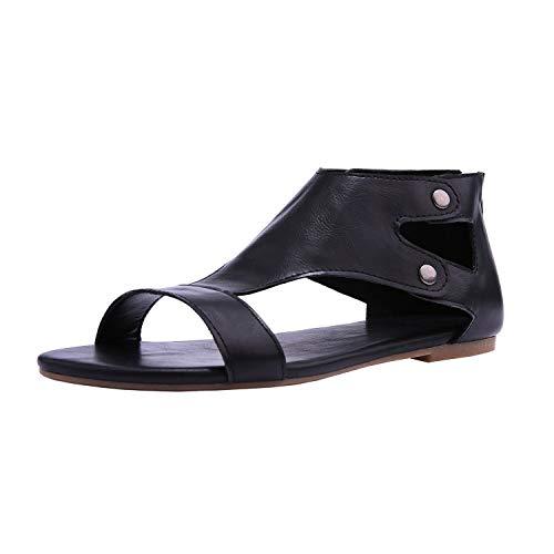 Minetom sandali estivi donna elegante ragazze casuale estate romani sandali infradito da donna scarpe con taccco alto basse aperte peep toe sandali nero eu 43