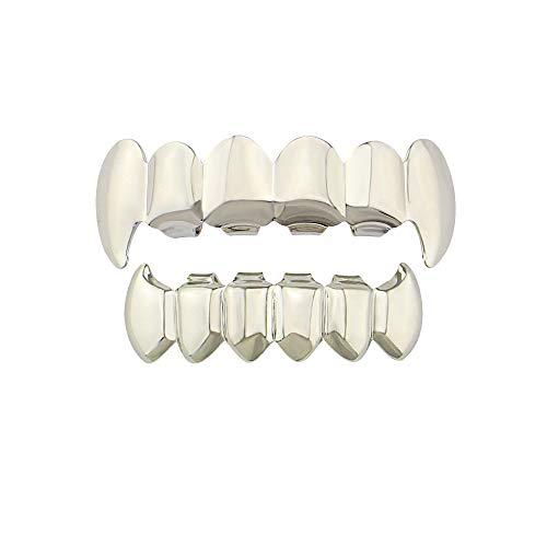 YHDD Glänzende Hip Hop-Zahn-Grill-Ober- und Unterzähne Vampir-Reißzähne-Grills für Holleween-Geschenk Einheitsgröße (Farbe : Silber) - Kappen Zähne Silber