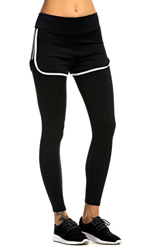 Jimmy Design Damen Skin Tight bequeme Sport Hose Leggings Small Yoga&Studio-2-in-1 (Support Light Strumpfhose)