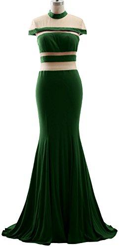 MACloth Mermaid High Neck Jersey Prom Gown Cap Sleeves Evening Formal Dress Dark Green