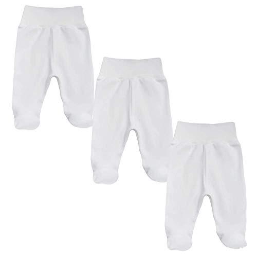 MEA BABY  Pantalones Unisex para bebé con pie de algodón orgánico 100 Pack de 3 Unidades Peto para bebé con pie Pantalones de bebé con pie para niña con pies Niñas 62 cm