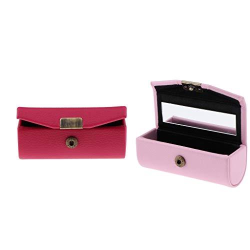 SM SunniMix 2 Stück PU Leder Lippenstiftbox Lippenstift-Etui mit Spiegel und Druckknopfverschluss - Pink + Rosa - Aluminium-sicherheits-geldbörse