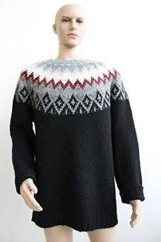 Dondup Maglione Oxalidace Uomo (XL, Nero/Grigio/Rosso/Bianco)