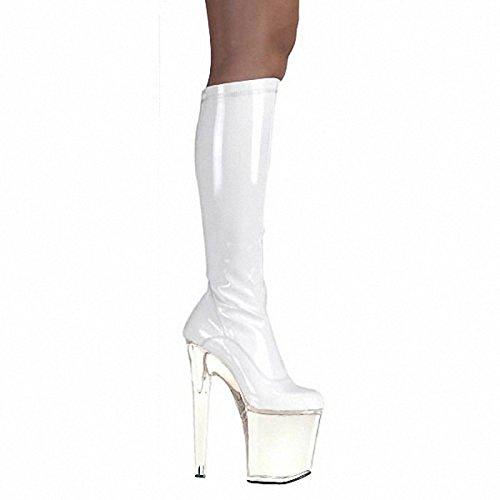 Wikai Femmes Bottes Bottes Mode Hiver Pu Party & Soirée Zipper Stiletto Talon Blanc Noir 5a Et Plus Noir
