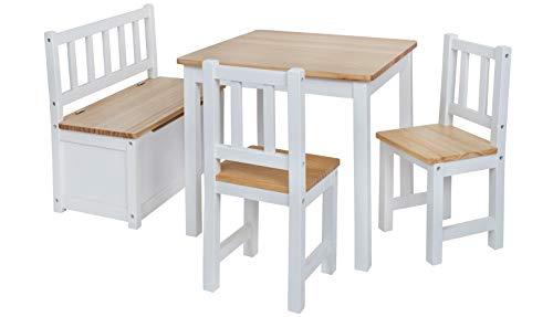 Original IMPAG® Kinder-Sitzgruppe | Großes Kinderzimmer Set 1 Tisch, 2 Stühle, 1 Truhenbank mit Qualitäts-Beschlag | Nordische Fichte | Ergonomisch | Top Möbel-Qualität | Sicherheitsgeprüft - Kinder Tisch Und Stuhl