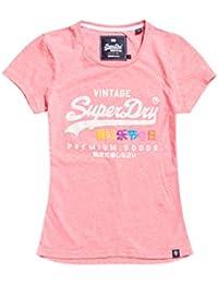Superdry T-Shirt Damen V LOGO PHOTO TROPICAL INFILL E Ice Marl