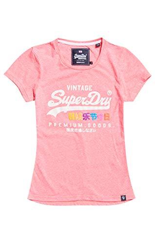 Superdry Damen Pullunder Premium Goods Puff Entry Tee Neon Pink Snowy Zv0, Medium (Herstellergröße: 12)