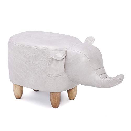 Reposapiés de animales, reposapiés de taburete Reposapiés Taburete de maquillaje Cuero de PU suave Taburete bajo de madera 3D Reposapiés de elefante Zapatos de asiento de otomano Taburete Banco