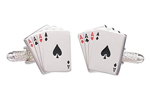 Vier Asse Spielkarten Hand Manschettenknöpfe in Onyx Art Kiste - Ace-legierung