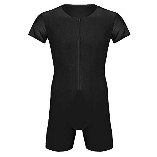 CHICTRY Herren Body Kurz Dessous mit Zip Unterwäsche Kurzarm Sport Shirt Overalls Fitness Training Sportbody Männer Bodysuit Funktionsshirt Schwarz XX-Large