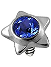 4d0322654 Crystal Stone Star 316L Surgical Steel Internally Threaded Top Micro Dermal  Anchor Piercing Jewellery