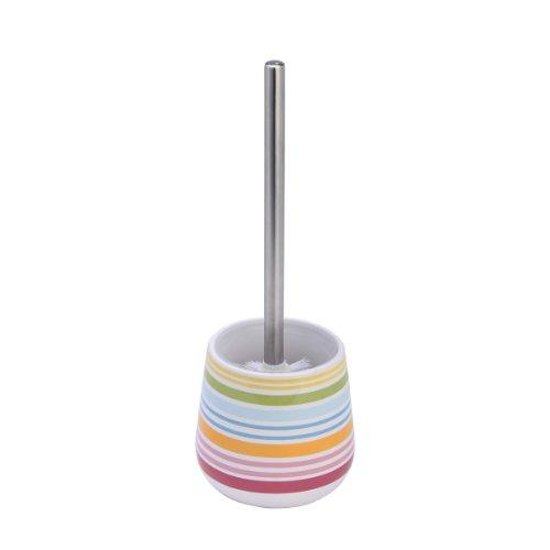 axentia WC-Garnitur Rio mit Streifendekor, Keramik, Bad-Set bestehend aus WC-Bürste und WC-Bürstenhalter