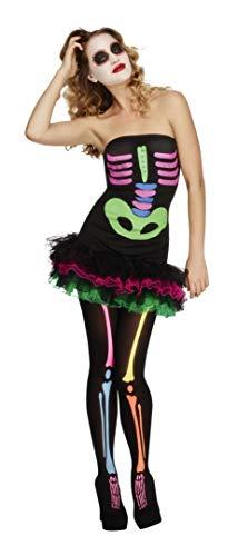 Fever, Damen Neon-Skelett Kostüm, Tutu-Kleid mit Neon Aufdruck und abnehmbaren Trägern, Größe: M, 25326 (Fever Skelett Kostüm)