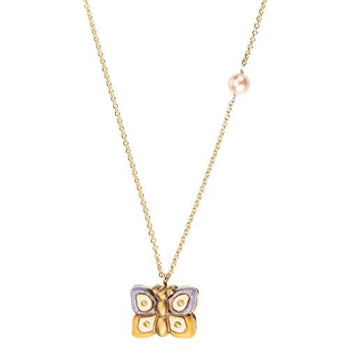 Thun v3179h89 collana current simply butterfly, ottone dorato, ceramica, perla sintetica, viola, 7.6 x 10.1 x 3.6 cm
