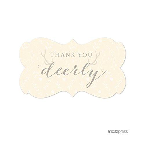 Andaz Drücken Woodland Deer Hochzeit Party Kollektion Labels Fancy Frame Thank You Deerly