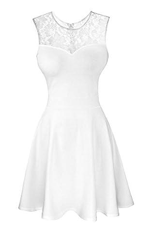 Suimiki Damen ärmellos Rundausschnitt falten A-linie Partykleid mini Cocktailkleid kurz Festliche Kleid (L, Weiß mit