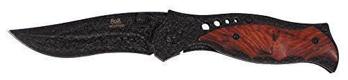 Fox Outdoor MFH - Klappmesser mit Holzauflage, schwarz, Einhand - 44823