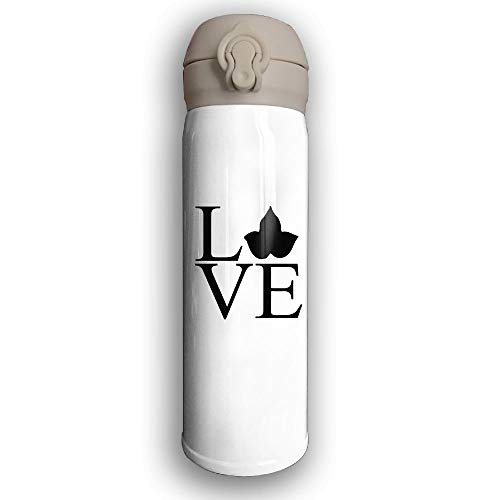 GDESFR Thermoskanne Stainless Water Bottle Design Love Alpha,Sports Drinking Bottle,Leak-Proof Vaccum Cup,Travel Mug,with Bounce Cover,White -